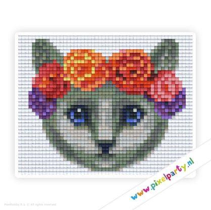 1a_013_pixelhobby_patroon_dier_kat_grijs_bloemen